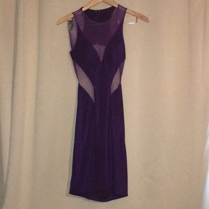 Faviana purple mesh & cutout tank dress